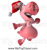 February 17th, 2014: Swine Clipart of a 3d Christmas Pig Jumping by Julos