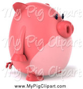 Swine Clipart of a 3d Chubby Pig by Julos