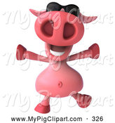 Swine Clipart of a 3d Chubby Pig Character Running and Wearing Shades by Julos