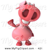 Swine Clipart of a 3d Chubby Pig Character Waving by Julos
