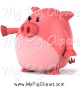 Swine Clipart of a 3d Chubby Pig Pointing to the Left by Julos