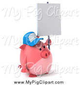 Swine Clipart of a 3d Chubby Pig Wearing a Baseball Cap and Holding a Sign While Facing Right by Julos
