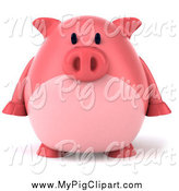 Swine Clipart of a 3d Chubby Pink Pig Facing Front by Julos