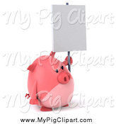 Swine Clipart of a 3d Chubby Pink Pig Facing Slightly Right and Holding a Sign by Julos