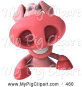 Swine Clipart of a 3d Chubby Pookie Pig Character Smiling and Leaning over a Blank Sign by Julos