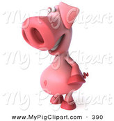 Swine Clipart of a 3d Chubby Pookie Pig Character Standing and Facing Left by Julos