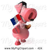 Swine Clipart of a 3d Cute Pig Character Holding a French Flag and Carrying Bread by Julos