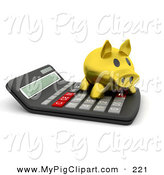 Swine Clipart of a 3d Gold Piggy Bank Standing on Top of a Calculator by KJ Pargeter