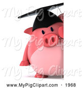 Swine Clipart of a 3d Graduation Pig Looking Around a Sign by Julos