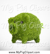 Swine Clipart of a 3d Green Grassy Piggy Bank by Mopic