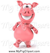Swine Clipart of a 3d Happy Pig Walking Upright by Julos