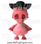 Swine Clipart of a 3d Happy Pig Wearing a Breton Hat by Julos