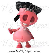 Swine Clipart of a 3d Happy Pig Wearing a Hat and Gesturing to the Left by Julos