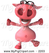 Swine Clipart of a 3d Happy Pig Wearing Glasses and Jumping by Julos