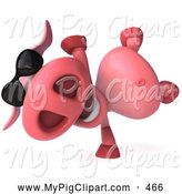 Swine Clipart of a 3d Hipster Pig Character Doing a Hand Stand and Wearing Shades by Julos