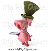 Swine Clipart of a 3d Irish Pig Wearing a Hat and Holidng a Plate, Facing Left by Julos