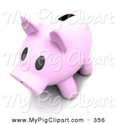 Swine Clipart of a 3d Pale Pink Piggy Bank with a Wide Slot on White by KJ Pargeter