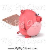Swine Clipart of a 3d Pig Angel Facing Right by Julos