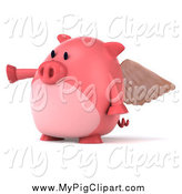 Swine Clipart of a 3d Pig Angel Pointing Left by Julos