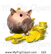 Swine Clipart of a 3d Pig Bank with Golden Goins on White by AtStockIllustration