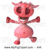 Swine Clipart of a 3d Pig Character Jumping up and down by Julos