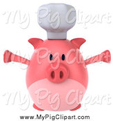 Swine Clipart of a 3d Pig Chef Jumping by Julos