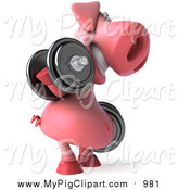 Swine Clipart of a 3d Pig Facing Right, Doing Bicep Curls and Working out with Dumbbells by Julos