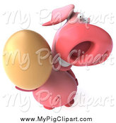 Swine Clipart of a 3d Pig Holding up an Egg by Julos