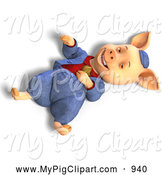 Swine Clipart of a 3d Pig in Clothes, Laying on the Ground by Ralf61