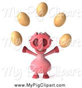 Swine Clipart of a 3d Pig Juggling Eggs by Julos