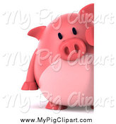 Swine Clipart of a 3d Pig Looking Around a Sign by Julos