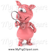 Swine Clipart of a 3d Pig Searching with a Magnifying Glass by Julos