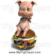 Swine Clipart of a 3d Pig Sitting on a Cheeseburger by Ralf61