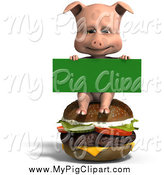 Swine Clipart of a 3d Pig Sitting on a Cheeseburger with a Sign by Ralf61