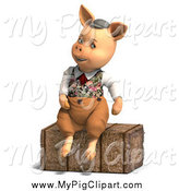 Swine Clipart of a 3d Pig Sitting on Hay by Ralf61