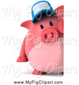 Swine Clipart of a 3d Pig Wearing a Baseball and Looking Around a Sign by Julos