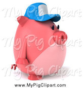 Swine Clipart of a 3d Pig Wearing a Hat and Facing Right by Julos