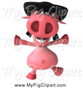 February 12nd, 2014: Swine Clipart of a 3d Pig Wearing a Hat and Jumping by Julos