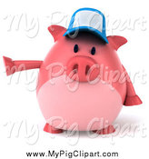 Swine Clipart of a 3d Pig Wearing a Hat and Pointing Left by Julos
