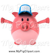 Swine Clipart of a 3d Pig Wearing a Hat Holding His Arms Open and Facing Right by Julos