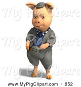 Swine Clipart of a 3d Pig Wearing Clothes by Ralf61