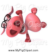 Swine Clipart of a 3d Pig Wearing Glasses and Cartwheeling by Julos