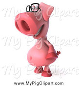 Swine Clipart of a 3d Pig Wearing Glasses and Facing Left by Julos