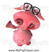 Swine Clipart of a 3d Pig Wearing Glasses and Waving by Julos
