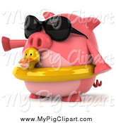 Swine Clipart of a 3d Pig Wearing Sunglasses and a Duck Inner Tube and Pointing Left by Julos