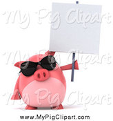 Swine Clipart of a 3d Pig Wearing Sunglasses and Holding a Blank Sign by Julos