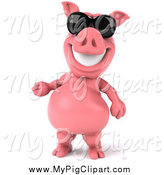 Swine Clipart of a 3d Pig Wearing Sunglasses and Presenting by Julos