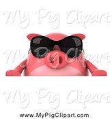 Swine Clipart of a 3d Pig Wearing Sunglasses over a Sign by Julos