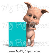 Swine Clipart of a 3d Pig with a Turquoise Sign by Ralf61