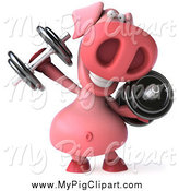 Swine Clipart of a 3d Pig Working out with Dumbbells by Julos